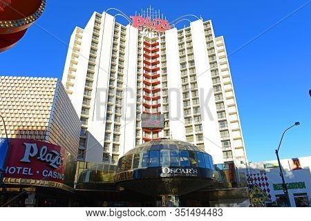 Las Vegas - Dec 26, 2015: Plaza Hotel And Casino On Fremont Street Experience In Downtown Las Vegas,