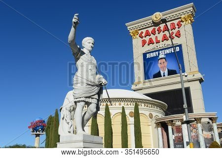 Las Vegas - Dec 26, 2015: Caesars Statue In Front Of Caesars Palace. This Hotel Is A Luxury Resort A
