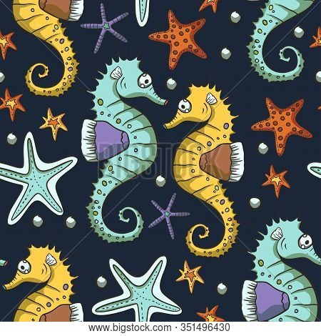 Seahorse Animal Seamless Pattern With Starfish And Bubbles. Vector Ocean Summer Background In Hand D