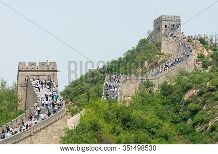 Beijing, China - May 23 2013: Element Of The Great Wall Of China On May 23, 2013 Near Beijing