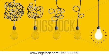 Creative Vector Illustration Of Simplifying Complex Process Lightbulb On Background. Art Design Unta