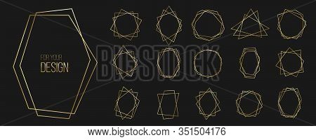 Creative Vector Illustration Of Luxury Gold Frame, Geometrical Polyhedron Shapes, Art Deco Style Iso