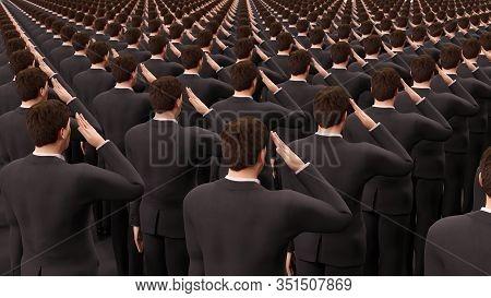 Businessman Crowd Military Salute Dictatorship 3d Illustration