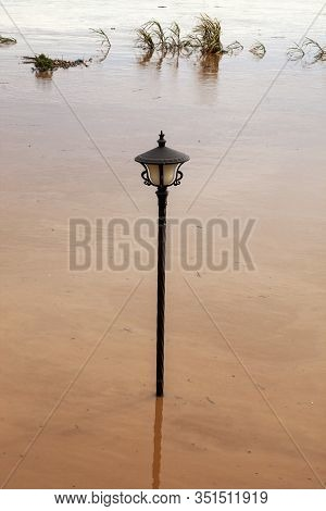 Vientiane City Laos Monsoon Flooded Damage Catastrophe Muddy Lamp Post