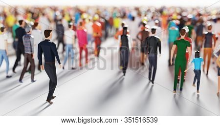 Businessman following crowd of people walking in one direction. Low poly style. Society and business world. Conceptual 3D illustration