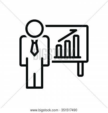 Black Line Icon For Businessman-in-ascending-business-bars-graphic Ascendant Achievement Presenting