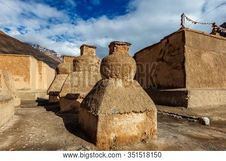 Buddhist gompas temple made of clay in Tabo village Spiti Valley. Clay gompa is built high in Himalaya on territory of monastery in tradition of Tibetan Buddhism religion. Himachal Pradesh, India