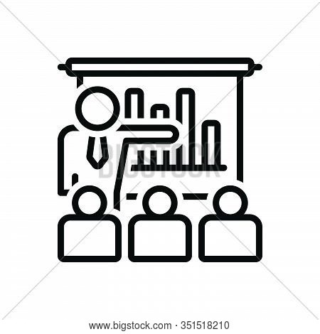 Black Line Icon For Business-presentation-with-bars-graphic Demonstration Workshop Audience Spectato