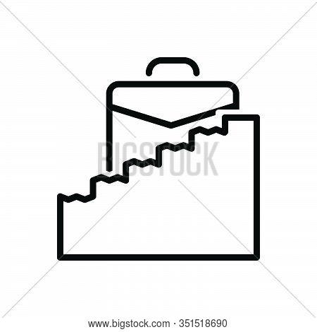 Black Line Icon For Career-ladder Career Ladder Briefcase Ambition Development Motivation Success Up