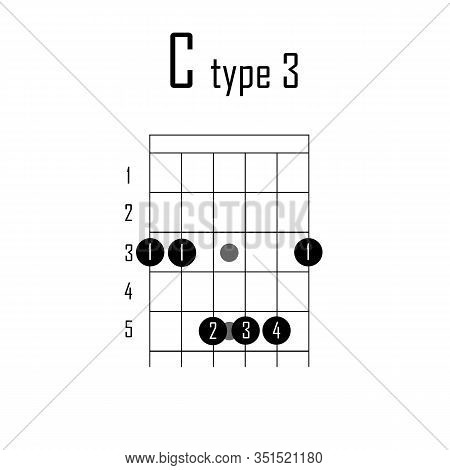 C Major Chord On Guitar. Vector Illustration Chord Guitar On White Background