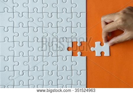 Woman Hands Putting Jigsaw Puzzles,jigsaw White Color,puzzle Pieces Grid,success Mosaic Solution Tem