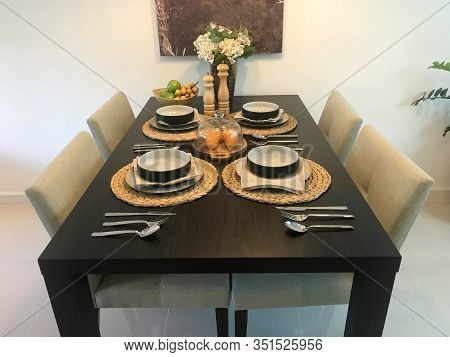 Interior Design Of Modern House With Dining Table Set