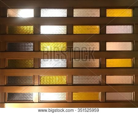 White And Yellow Glass With Wood Frame Of Window Or Door, Interior Concept