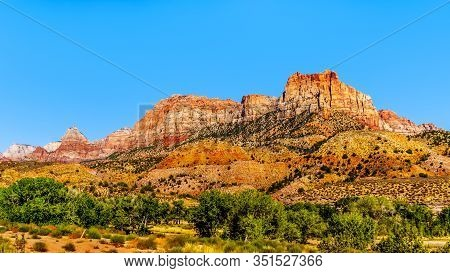 Johnson Mountain Under Clear Blue Sky At Zion National Park, Utah, United States