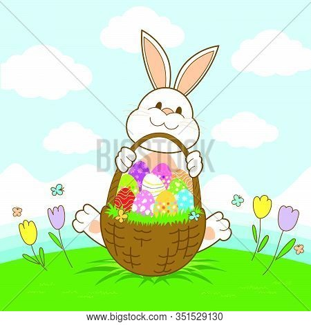 Happy Easter Banner With Rabbit And Easter Eggs Illustration Vector