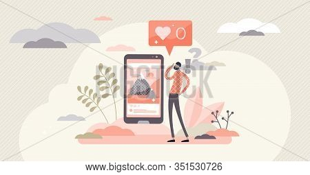 No Likes Social Networking Fail Concept, Flat Tiny Person Vector Illustration. Digital Fame Online P