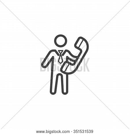 Business Man With Handset Telephone Line Icon. Linear Style Sign For Mobile Concept And Web Design.