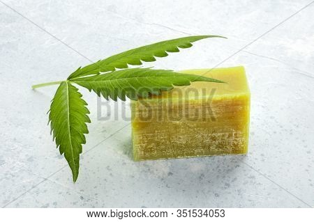 Cannabis Soap Bar With A Cannabis Leaf, Natural Organic Skincare Product With Medicinal Cbd Properti