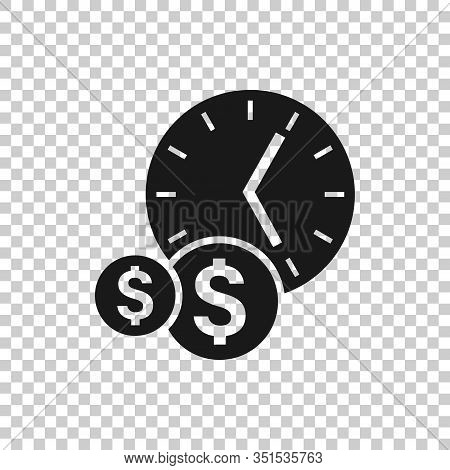 Time Is Money Icon In Flat Style. Project Management Vector Illustration On White Isolated Backgroun
