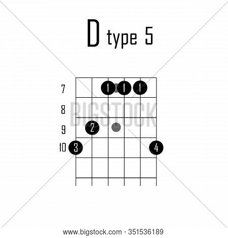 D Major Chord On Guitar. Vector Illustration Chord Guitar On White Background