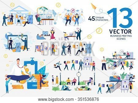 Company Employees, Entrepreneurs Life Scenes And Work Situations, Businesspeople Teamwork, Financial