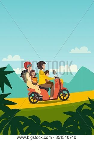 Summer family trip by motorbike vector illustration. Happy man, woman and children summer holidays. Cartoon family character on motorbike tropical holiday. Palm background, tourism concept card