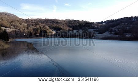 Frozen Lake Of La Thuile Overview, Near Chambery, Savoy, France