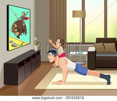 Man Pushups From The Floor With The Boy On His Back. This Is Image Cheerful Father Of With His Littl