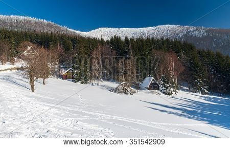 Lysa Hora Hill From Butoranka Above Ostravice In Moravskoslezske Beskydy Mountains During Freezing W