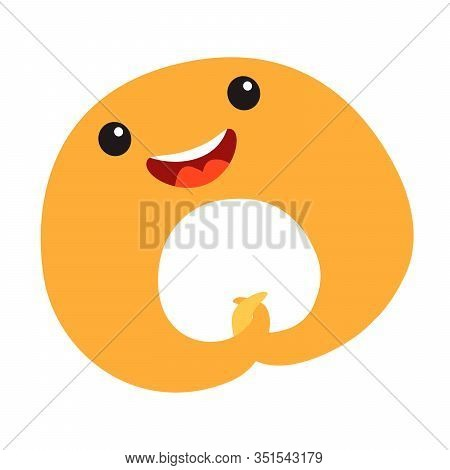 Funny bagel vector illustration. Happy bagel character with cute face. Sweet bagel emoji. Emotional pastry food. Bakery icon, isolated on white background