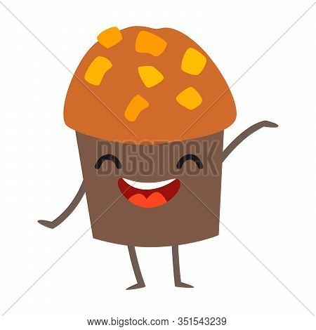 Funny muffin vector illustration. Happy muffin character with cute face. Sweet cake emoji. Emotional pastry food. Bakery icon, isolated on white background