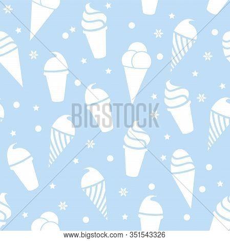 Vector White Icecream On Blue Background Seamless  Pattern