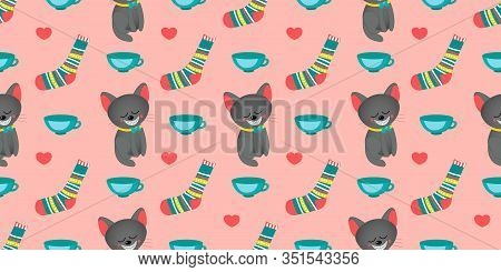 Seamless Pattern For Girls. Alice In Wonderland. Through The Looking Glass. Book Characters. Cheshir