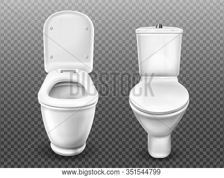 Toilet Bowl For Bathroom, Restroom, Modern Wc. Vector Realistic White Ceramic Lavatory With Flush Ta