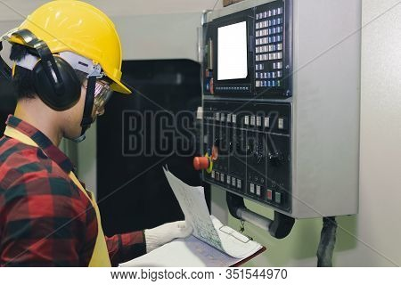 Asian Engineer Factory Inspection With Man Business Engineer Display Control Monitor Computer And Po