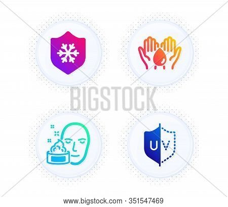 Clean Skin, Face Cream And Wash Hands Icons Simple Set. Button With Halftone Dots. Uv Protection Sig