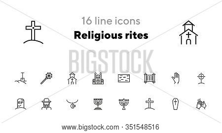 Religious Rites Line Icon Set. Cemetery, Menorah, Rabbi. Religion Concept. Can Be Used For Topics Li