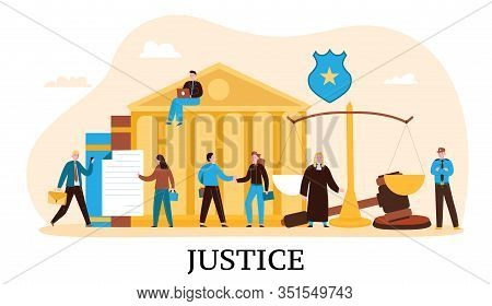 Law Justice Flat Composition With Courthouse Judge Balance Verdict Gavel Court Proceeding Trial Defe