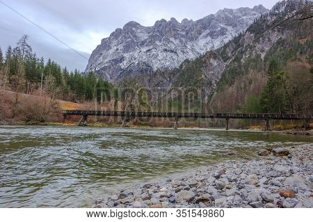 Landscape In The Gesause National Park With Enns River And Beautiful Mountain View, In Styria Region