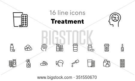 Treatment Line Icon Set. Medical Bottle, Pills, Drops, Inhaler. Medicine Concept. Can Be Used For To