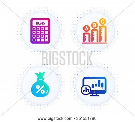 Loan, Graph Chart And Calculator Icons Simple Set. Button With Halftone Dots. Candlestick Chart Sign
