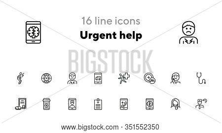 Urgent Help Line Icon Set. Patient, Pills, Prescription. Healthcare Concept. Can Be Used For Topics
