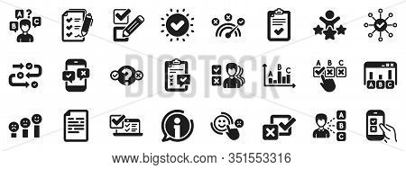Opinion, Customer Satisfaction Feedback And Test Icons. Survey, Report Review Icons. Checklist Revie