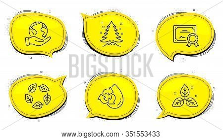 Organic Tested Sign. Diploma Certificate, Save Planet Chat Bubbles. Christmas Tree, Fair Trade And R