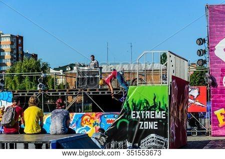 Kremenchug, Ukraine - June 05, 2017: Teenager Riding Bmx Bike During The Festival Of Street Culture