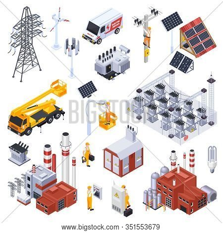Isometric Icons Set With Electricity Production Equipment Power Station Electrician Isolated On Whit