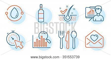 Presentation Board, Timer And Food Signs. Cold-pressed Oil, Search And Love Letter Line Icons Set. B