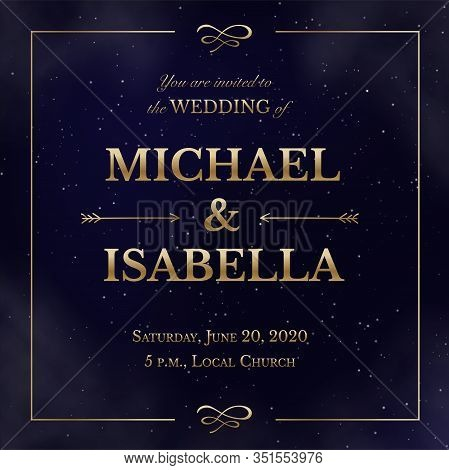 Wedding Invitation Square Card On Magic Night Dark Blue Sky With Sparkling Stars And Nebula. Vector