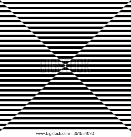 Abstract Black Horizontal Line Pattern Mirage On White Background. Vector Illustration