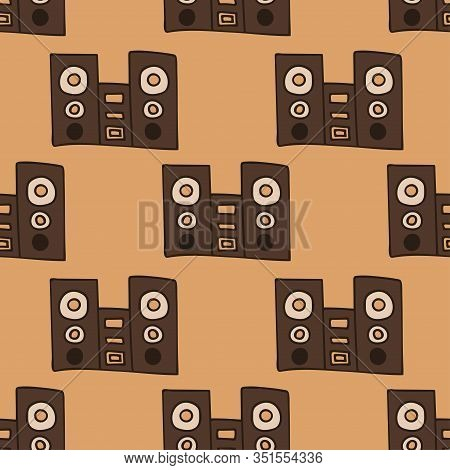 Speakers With Subwoofer. Music System. Seamless Pattern Stock Vector Illustration